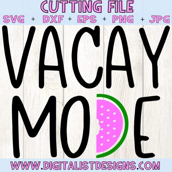 Vacay Mode SVG cut file! This would be amazing for a variety of DIY Summer craft projects such as: HTV T-shirts, mugs, home decor, scrapbooking, stickers, planners, and more! Cricut Design Space and Silhouette Studio compatible. Vector clip art printable.