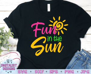 Fun in the Sun SVG cut file! This would be amazing for a variety of DIY Summer craft projects such as: HTV T-shirts, mugs, home decor, scrapbooking, stickers, planners, and more! Cricut Design Space and Silhouette Studio compatible. Vector clip art printable.