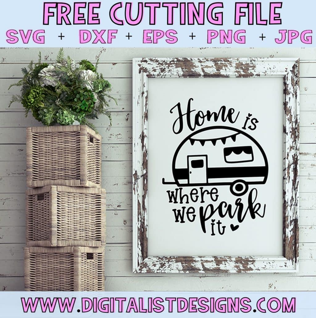 Free Home is Where We Park it SVG cut file! This would be amazing for a variety of DIY Summer craft projects such as: HTV T-shirts, mugs, home decor, scrapbooking, stickers, planners, and more! Cricut Design Space and Silhouette Studio compatible. Vector clip art printable.
