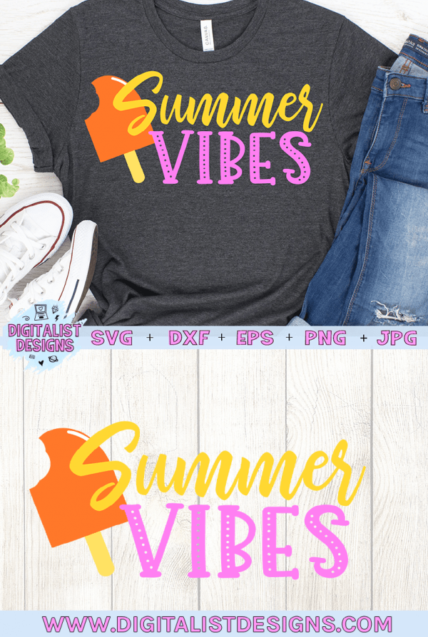 Summer Vibes SVG cut file! This would be amazing for a variety of DIY Summer craft projects such as: HTV T-shirts, mugs, home decor, scrapbooking, stickers, planners, and more! Cricut Design Space and Silhouette Studio compatible. Vector clip art printable.