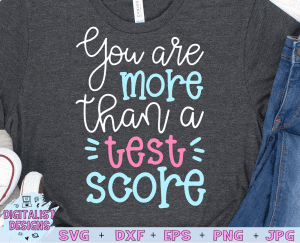 You are More Than a Test SVG cut file! This would be amazing for a variety of DIY Teacher craft projects such as: HTV T-shirts, mugs, home decor, scrapbooking, stickers, planners, and more! Cricut Design Space and Silhouette Studio compatible. Vector clip art printable.