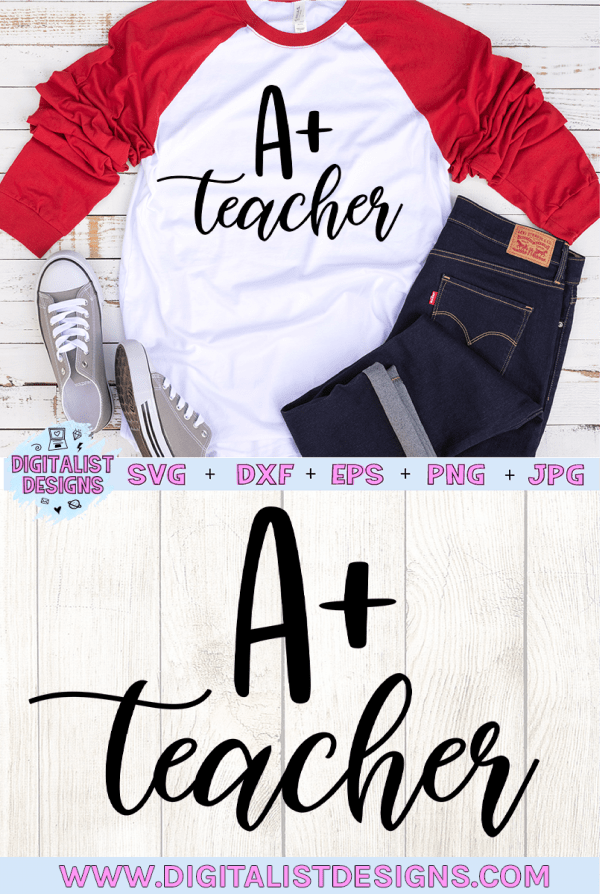 A Plus Teacher SVG cut file! This would be amazing for a variety of DIY Teacher craft projects such as: HTV T-shirts, mugs, home decor, scrapbooking, stickers, planners, and more! Cricut Design Space and Silhouette Studio compatible. Vector clip art printable.