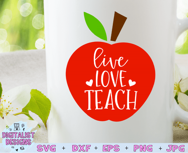 Live Love Teach SVG cut file! This would be amazing for a variety of DIY Teacher craft projects such as: HTV T-shirts, mugs, home decor, scrapbooking, stickers, planners, and more! Cricut Design Space and Silhouette Studio compatible. Vector clip art printable.