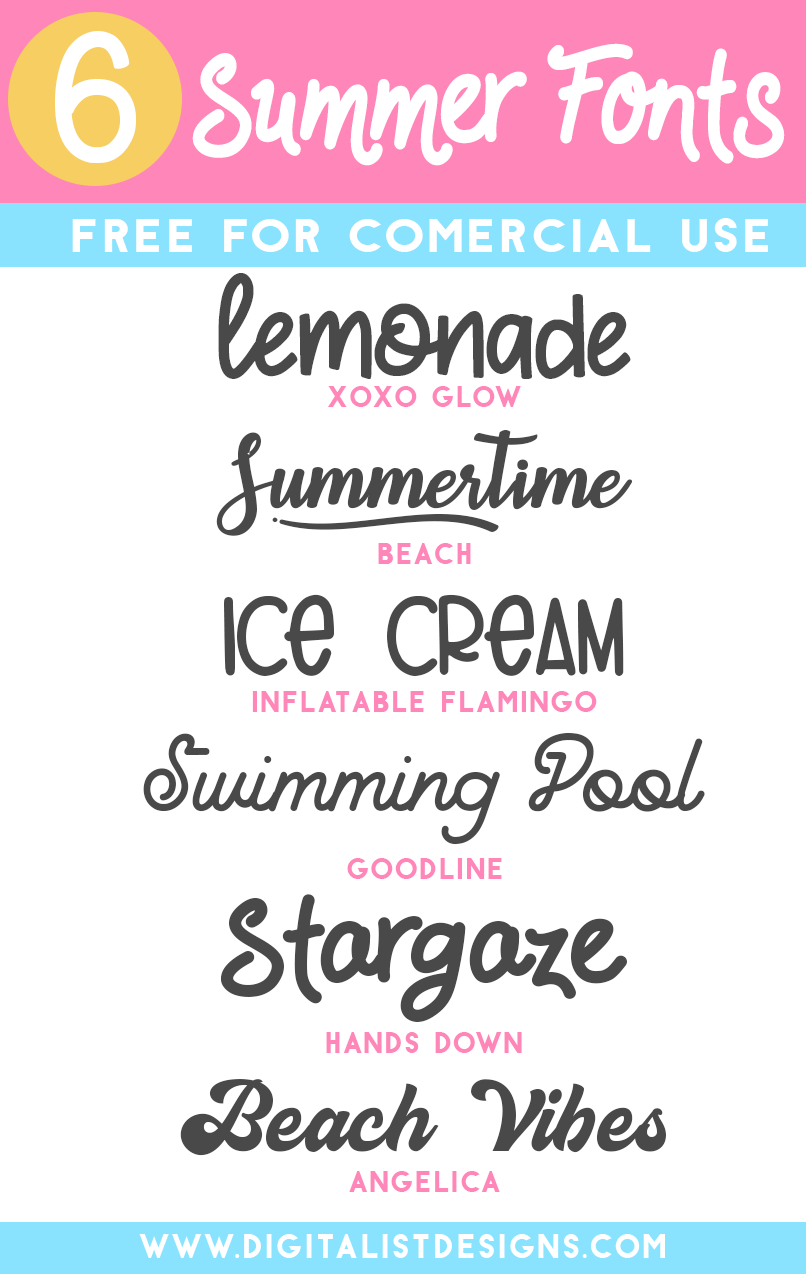 6 Free for Commercial Use Summer Fonts | DigitalistDesigns