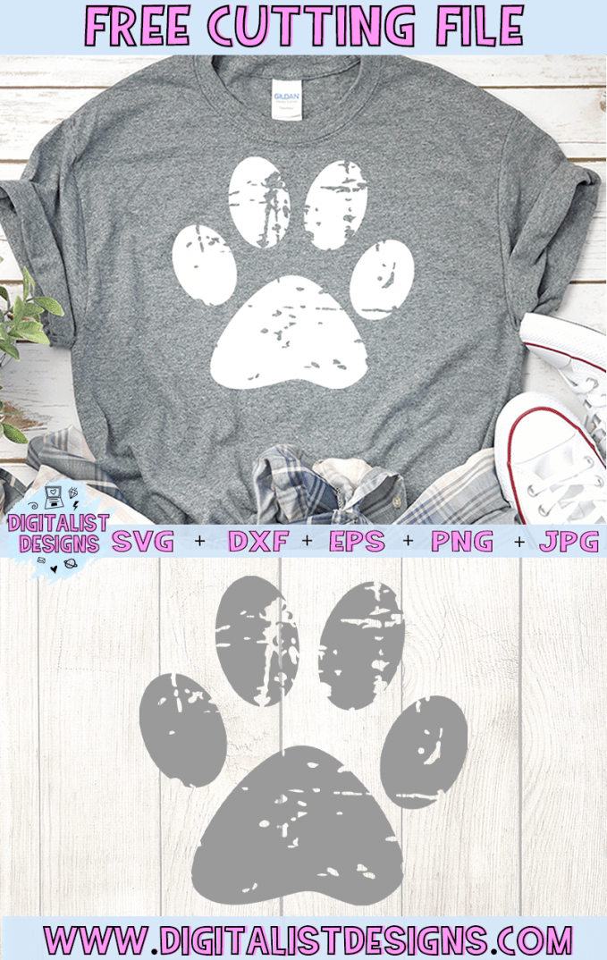 Free Grunge Pawprint SVG cut file! This would be amazing for a variety of DIY Animal craft projects such as: HTV T-shirts, mugs, home decor, scrapbooking, stickers, planners, and more! Cricut Design Space and Silhouette Studio compatible. Vector clip art printable.