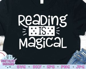 Reading is Magical SVG cut file! This would be amazing for a variety of DIY Teacher craft projects such as: HTV T-shirts, mugs, home decor, scrapbooking, stickers, planners, and more! Cricut Design Space and Silhouette Studio compatible. Vector clip art printable.