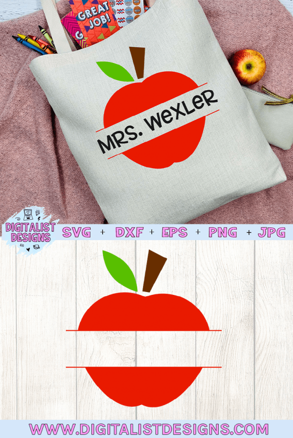 Split Monogram Apple SVG cut file! This would be amazing for a variety of DIY Teacher craft projects such as: HTV T-shirts, mugs, home decor, scrapbooking, stickers, planners, and more! Cricut Design Space and Silhouette Studio compatible. Vector clip art printable.