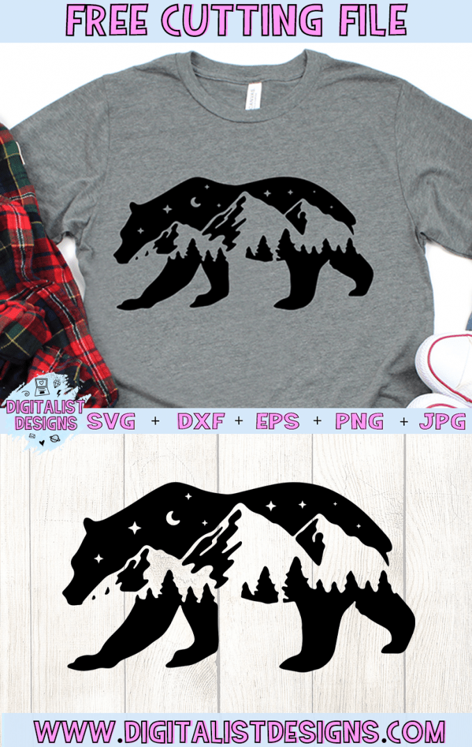Free Bear Mountains Silhouette SVG cut file! This would be amazing for a variety of DIY Animal craft projects such as: HTV T-shirts, mugs, home decor, scrapbooking, stickers, planners, and more! Cricut Design Space and Silhouette Studio compatible. Vector clip art printable.