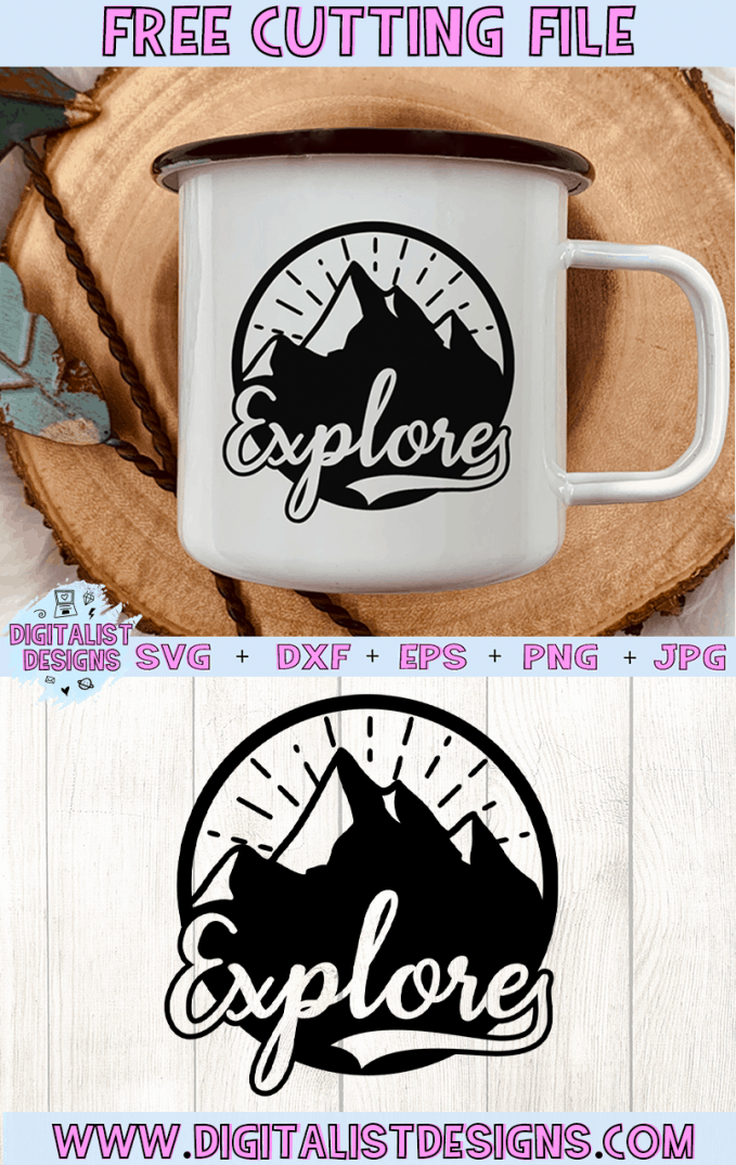 Free Explore Camping SVG cut file! This would be amazing for a variety of DIY Camping craft projects such as: HTV T-shirts, mugs, home decor, scrapbooking, stickers, planners, and more! Cricut Design Space and Silhouette Studio compatible. Vector clip art printable.