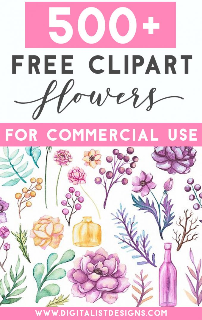 Over 500 free flower clipart images for commercial use. Use these floral clipart graphics for many craft projects including DIY wedding invitations, sublimation, gift tags, and more.