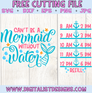 Free Mermaid Water Tracker SVG cut file! This would be amazing for a variety of DIY Mermaid craft projects such as: HTV T-shirts, mugs, home decor, scrapbooking, stickers, planners, and more! Cricut Design Space and Silhouette Studio compatible. Vector clip art printable.
