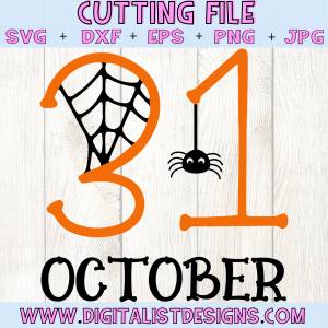 31 October SVG cut file! This would be amazing for a variety of DIY Halloween craft projects such as: HTV T-shirts, mugs, home decor, scrapbooking, stickers, planners, and more! Cricut Design Space and Silhouette Studio compatible. Vector clip art printable.