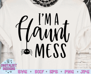 I'm a Haunt Mess SVG cut file! This would be amazing for a variety of DIY Halloween craft projects such as: HTV T-shirts, mugs, home decor, scrapbooking, stickers, planners, and more! Cricut Design Space and Silhouette Studio compatible. Vector clip art printable.