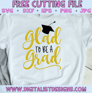 Free Glad to be a Grad SVG cut file! This would be amazing for a variety of DIY Graduation craft projects such as: HTV T-shirts, mugs, home decor, scrapbooking, stickers, planners, and more! Cricut Design Space and Silhouette Studio compatible. Free vector clip art printable.