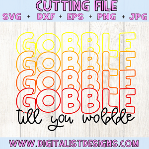 Retro Gobble till you Wobble SVG cut file! This would be amazing for a variety of DIY Thanksgiving craft projects such as: HTV T-shirts, mugs, home decor, scrapbooking, stickers, planners, and more! Cricut Design Space and Silhouette Studio compatible. Vector clip art printable.