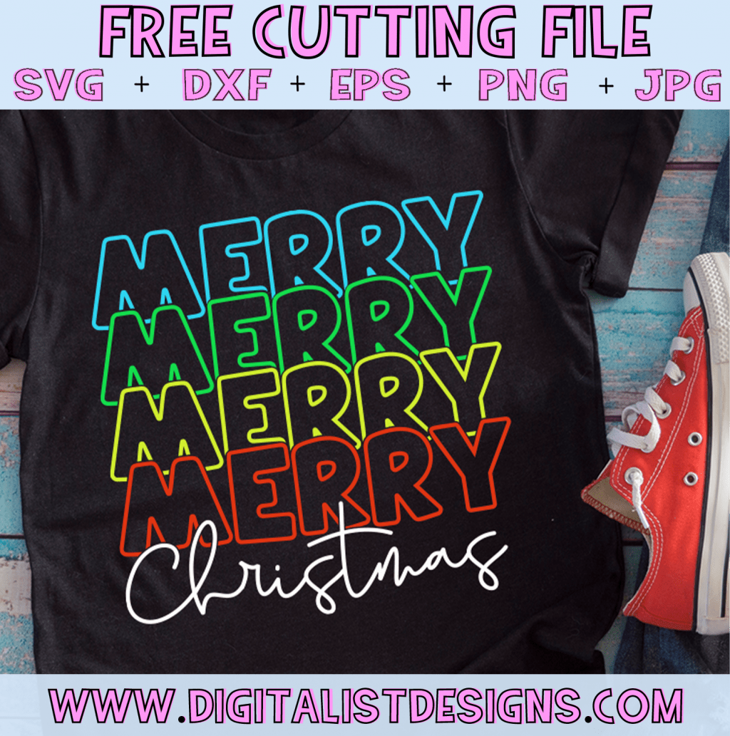 Free Retro Merry Christmas SVG cut file! This would be amazing for a variety of DIY Christmas craft projects such as: HTV T-shirts, mugs, home decor, scrapbooking, stickers, planners, and more! Cricut Design Space and Silhouette Studio compatible. Vector clip art printable.