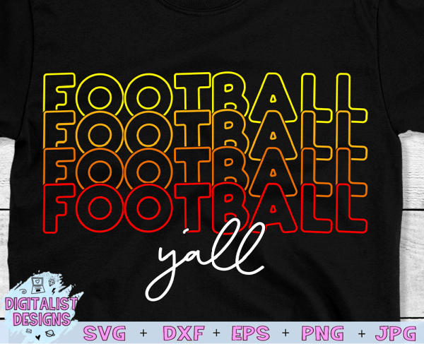 Retro Football Y'all SVG cut file! This would be amazing for a variety of DIY Football craft projects such as: HTV T-shirts, mugs, home decor, scrapbooking, stickers, planners, and more! Cricut Design Space and Silhouette Studio compatible. Vector clip art printable.