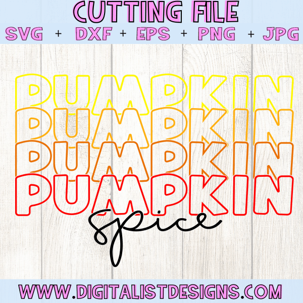 Retro Pumpkin Spice SVG cut file! This would be amazing for a variety of DIY Thanksgiving craft projects such as: HTV T-shirts, mugs, home decor, scrapbooking, stickers, planners, and more! Cricut Design Space and Silhouette Studio compatible. Vector clip art printable.