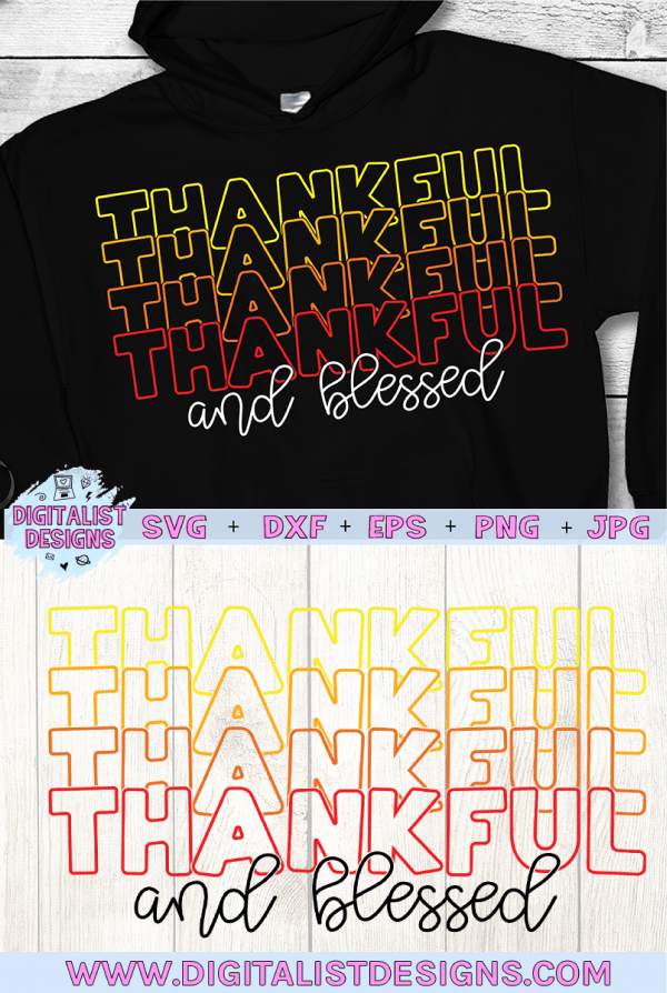 Retro Thankful and Blessed SVG cut file! This would be amazing for a variety of DIY Thanksgiving craft projects such as: HTV T-shirts, mugs, home decor, scrapbooking, stickers, planners, and more! Cricut Design Space and Silhouette Studio compatible. Vector clip art printable.