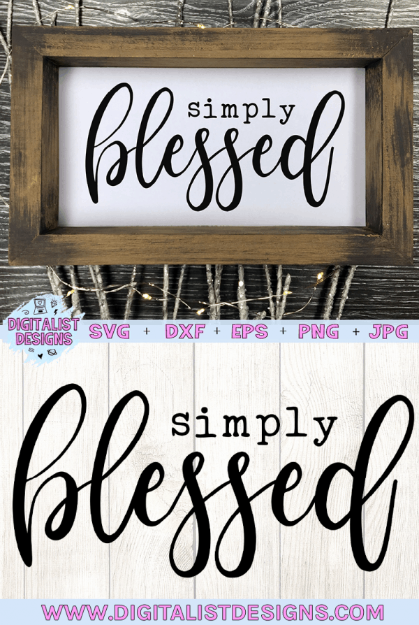 Simply Blessed SVG cut file! This would be amazing for a variety of DIY Religious craft projects such as: HTV T-shirts, mugs, home decor, scrapbooking, stickers, planners, and more! Cricut Design Space and Silhouette Studio compatible. Vector clip art printable.