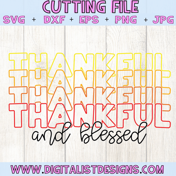 Retro Thankful and Blessed SVG
