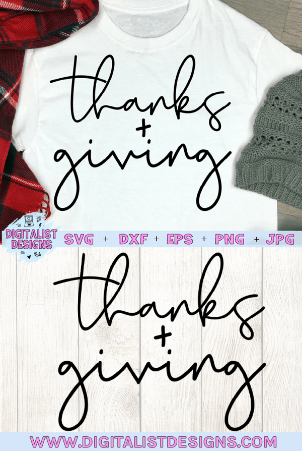 Thanks + Giving SVG cut file! This would be amazing for a variety of DIY Thanksgiving craft projects such as: HTV T-shirts, mugs, home decor, scrapbooking, stickers, planners, and more! Cricut Design Space and Silhouette Studio compatible. Vector clip art printable.