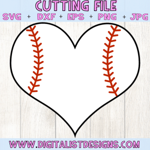 Baseball Heart SVG cut File | Baseball SVG files for Cricut & Silhouette