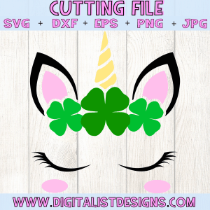 Four Leaf Clover Unicorn SVG cut File | St. Patrick's Day SVG files for Cricut & Silhouette