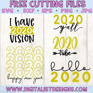 Free 2020 New Years SVG Cut file Bundle| Free New Years SVG files for Cricut & Silhouette
