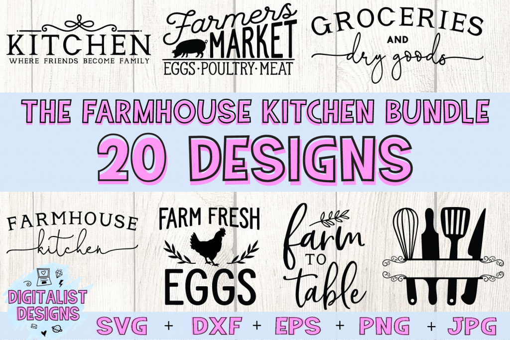 The Farmhouse Kitchen SVG Bundle! Comes with 20 Farmhouse Sign SVG files for your kitchen! Makes great home decor signs, perfect for making a country style kitchen. Cricut and Silhouette compatible. #SVG #kitchen #homedecor #affiliate