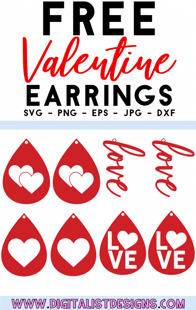Free Valentine Earrings SVG cut File | Free Earrings SVG files for Cricut & Silhouette