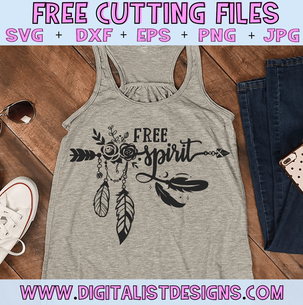 Free Boho Free Spirit SVG cut file! This would be amazing for a variety of DIY boho craft projects such as: HTV T-shirts, mugs, home decor, scrapbooking, stickers, planners, and more! Cricut Design Space and Silhouette Studio compatible. Free Boho SVG File.