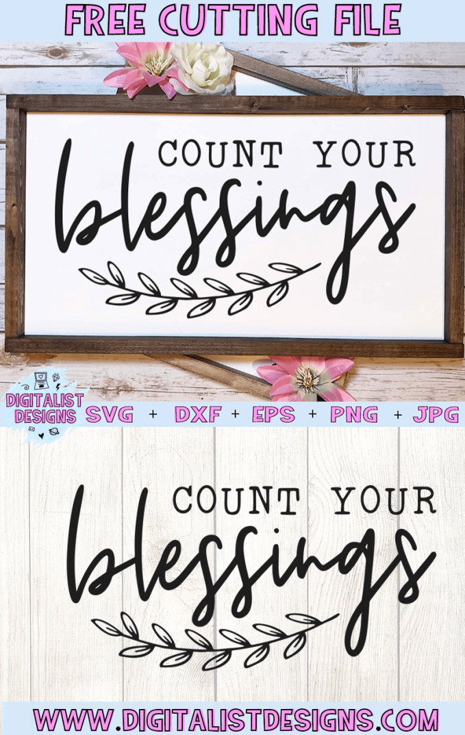 Count Your Blessings SVG cut file! This would be amazing for a variety of Religious DIY craft projects such as: HTV T-shirts, mugs, home decor, scrapbooking, stickers, planners, and more! Cricut Design Space and Silhouette Studio compatible. Free vector clip art printable.