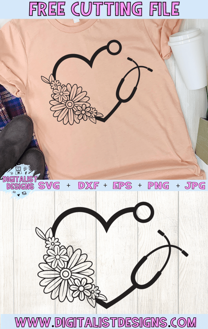 Free Floral Stethoscope Heart SVG cut file! This would be amazing for a variety of DIY Nurse and Doctor craft projects such as: HTV T-shirts, mugs, home decor, scrapbooking, stickers, planners, and more! Cricut Design Space and Silhouette Studio compatible. Free Nurse SVG File.