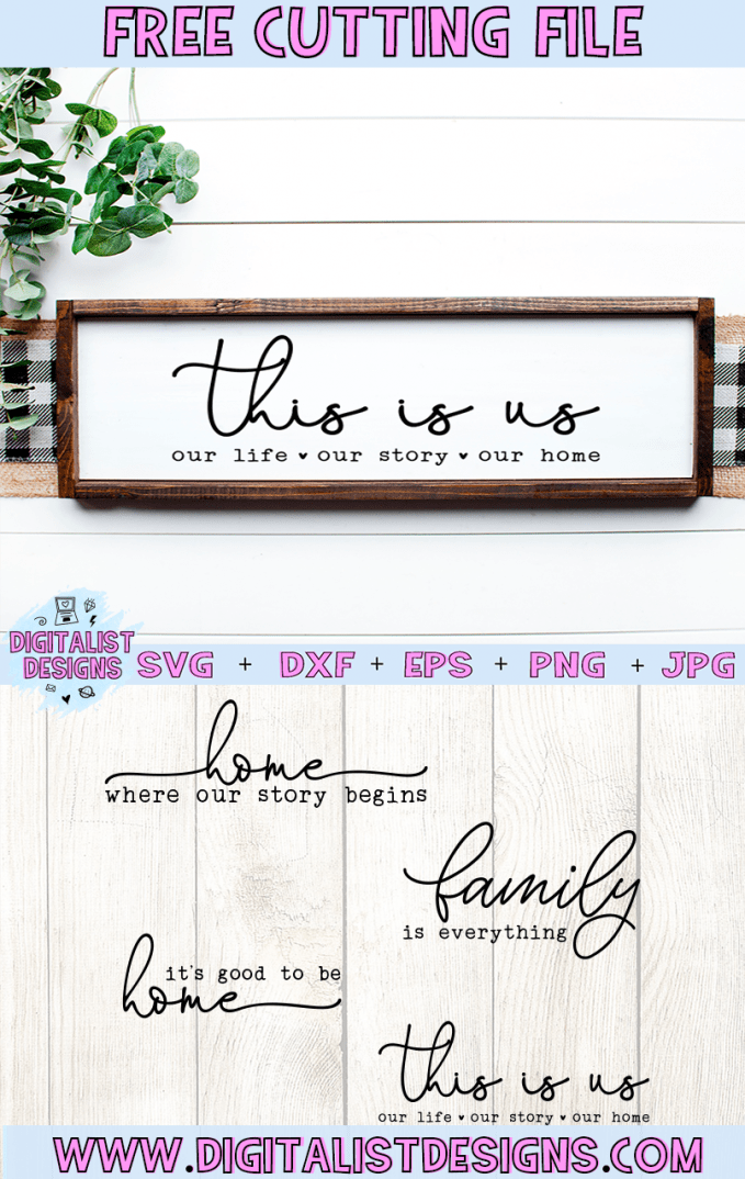 Free Farmhouse Family Sign SVG cut file bundle! This would be amazing for a variety of Home Decor DIY craft projects such as: HTV T-shirts, mugs, home decor, scrapbooking, stickers, planners, and more! Cricut Design Space and Silhouette Studio compatible. Free vector clip art printable.
