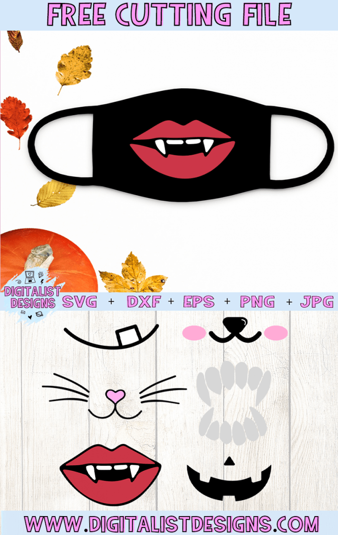Free Halloween Face Mask SVG cut file bundle! While intended for masks, these would also be amazing for a variety of Halloween DIY craft projects such as: HTV T-shirts, mugs, home decor, scrapbooking, stickers, planners, and more! Cricut Design Space and Silhouette Studio compatible. Free vector clip art printable.