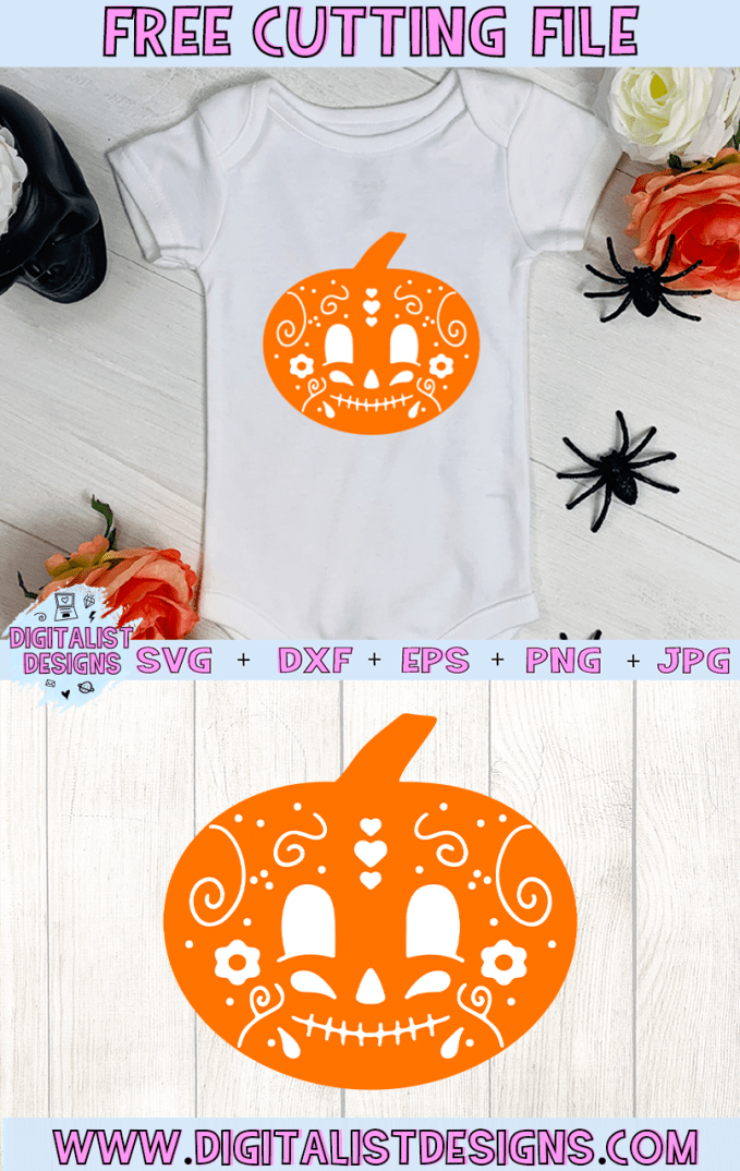 Free Sugar Pumpkin SVG cut file! This would be amazing for a variety of DIY Halloween craft projects such as: HTV T-shirts, mugs, home decor, scrapbooking, stickers, planners, and more! Cricut Design Space and Silhouette Studio compatible. Vector clip art printable.