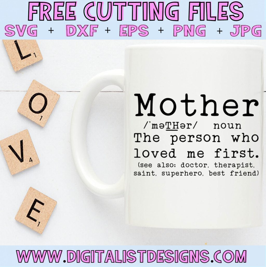 Free Mom Definition SVG cut file bundle! Includes 3 Mother's Day SVG designs. This would be amazing for a variety of DIY Mother's Day craft projects such as: HTV T-shirts, mugs, home decor, scrapbooking, stickers, planners, and more! Cricut Design Space and Silhouette Studio compatible. Vector clip art printable.