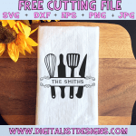 Free Kitchen Utensil Monogram SVG cut File | Kitchen and Home Decor Free SVG files for Cricut & Silhouette