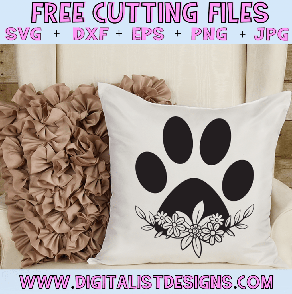 Free Floral Pawprint SVG cut file! This would be amazing for a variety of DIY Animal craft projects such as: HTV T-shirts, mugs, home decor, scrapbooking, stickers, planners, and more! Cricut Design Space and Silhouette Studio compatible. Vector clip art printable.