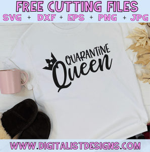 Free Quarantine Queen SVG cut file! This would be amazing for a variety of Funny DIY craft projects such as: HTV T-shirts, mugs, home decor, scrapbooking, stickers, planners, and more! Cricut Design Space and Silhouette Studio compatible. Vector clip art printable.