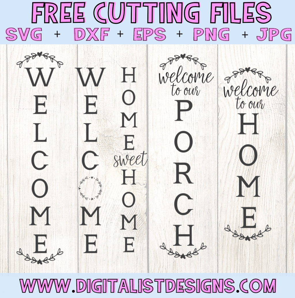 Free Vertical Porch Welcome Sign SVG cut file bundle! This would be amazing for a variety of Porch DIY craft projects such as: HTV T-shirts, mugs, home decor, scrapbooking, stickers, planners, and more! Cricut Design Space and Silhouette Studio compatible. Free vector clip art printable.