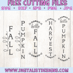 Free Fall Porch Sign SVG cut file bundle! This would be amazing for a variety of Fall DIY craft projects such as: HTV T-shirts, mugs, home decor, scrapbooking, stickers, planners, and more! Cricut Design Space and Silhouette Studio compatible. Free vector clip art printable.