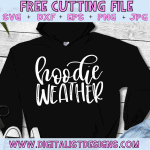 Free Hoodie Weather SVG cut file! This would be amazing for a variety of Fall DIY craft projects such as: HTV T-shirts, mugs, home decor, scrapbooking, stickers, planners, and more! Cricut Design Space and Silhouette Studio compatible. Free vector clip art printable.