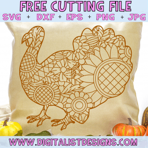 Free Turkey Zentangle SVG file! This would be amazing for a variety of DIY Thanksgiving craft projects such as: HTV T-shirts, mugs, home decor, scrapbooking, stickers, planners, and more! Cricut Design Space and Silhouette Studio compatible. Free vector clip art printable.