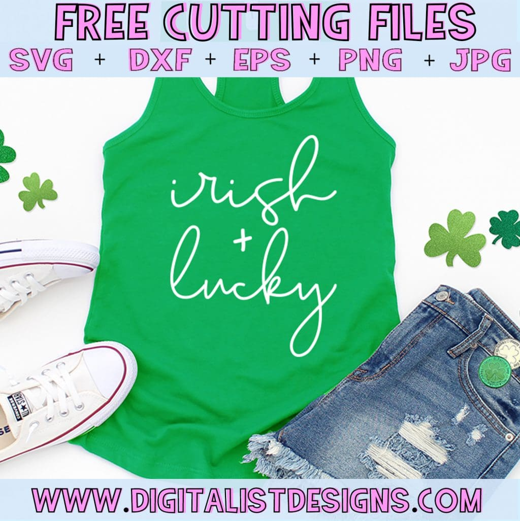 Free Irish + Lucky St. Patrick's Day SVG file! This would be amazing for a variety of DIY St. Patrick's Day craft projects such as: HTV T-shirts, mugs, home decor, scrapbooking, stickers, planners, and more! Cricut Design Space and Silhouette Studio compatible. Free vector clip art printable.
