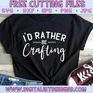 Free I'd Rather Be Crafting SVG cut file! This would be amazing for a variety of DIY craft projects such as: HTV T-shirts, mugs, home decor, scrapbooking, stickers, planners, and more! Cricut Design Space and Silhouette Studio compatible. Free vector clip art printable.