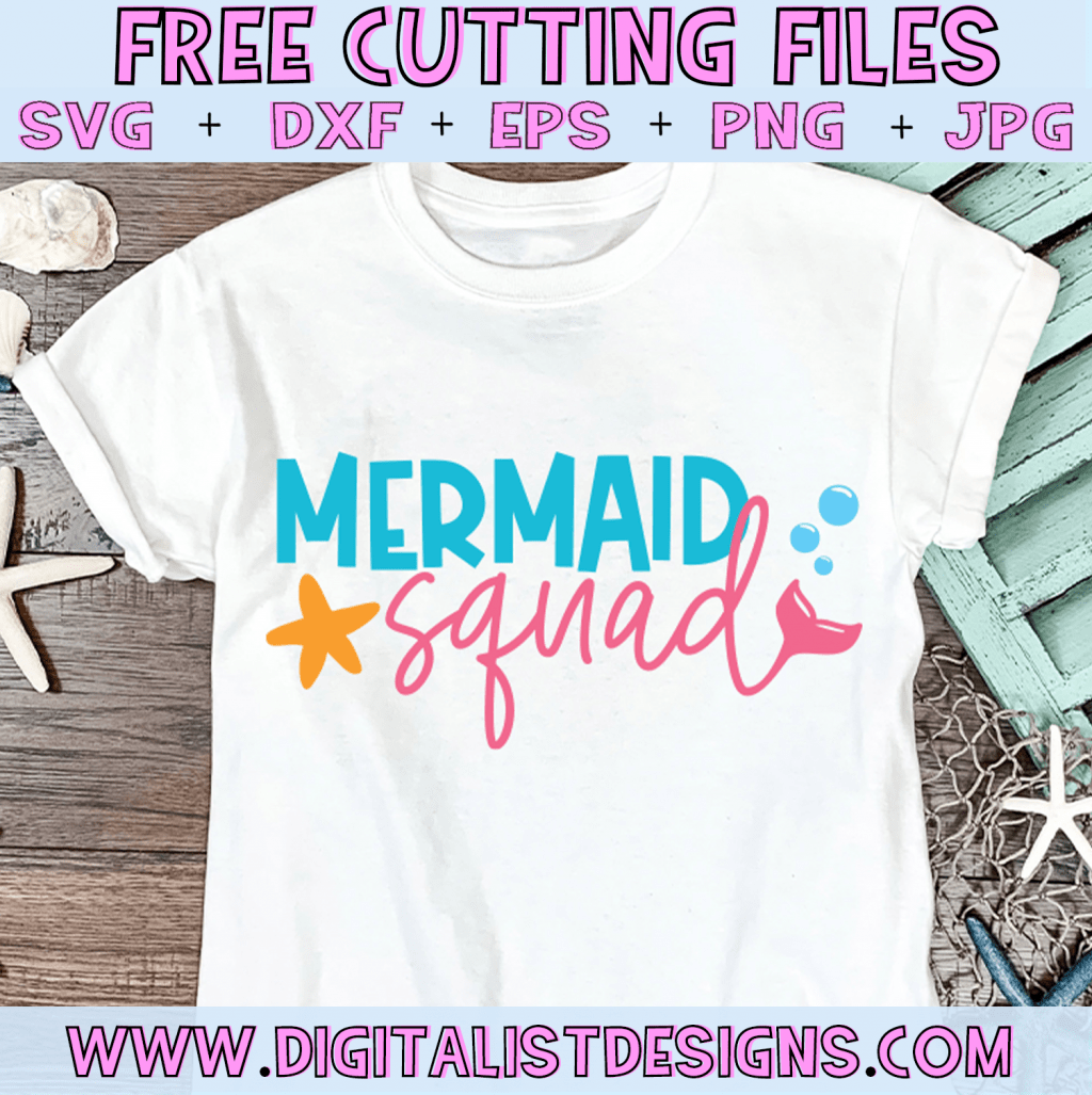 Free Mermaid Squad SVG cut file! This would be amazing for a variety of DIY Mermaid and Summer related craft projects such as: HTV T-shirts, mugs, home decor, scrapbooking, stickers, planners, and more! Cricut Design Space and Silhouette Studio compatible. Vector clip art printable.